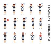 big set of housemaid characters ...   Shutterstock .eps vector #606969356
