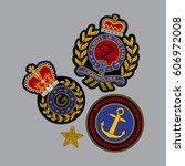 set of royal patches in vector. ... | Shutterstock .eps vector #606972008