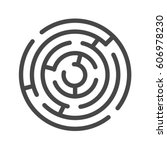 labyrinth thin line vector icon.... | Shutterstock .eps vector #606978230