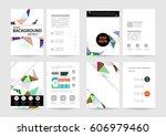 memphis geometric background... | Shutterstock .eps vector #606979460