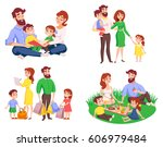 set of family during walk ... | Shutterstock .eps vector #606979484