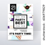 invitation disco party poster... | Shutterstock .eps vector #606979829