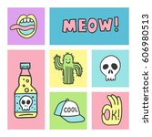 set of stickers  pins  patches... | Shutterstock .eps vector #606980513