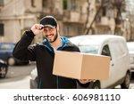 delivery man with cap and... | Shutterstock . vector #606981110