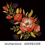 ethnic embroidery rose peony... | Shutterstock .eps vector #606982208