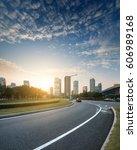 asphalt pavement urban road at... | Shutterstock . vector #606989168