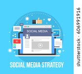 social media  marketing... | Shutterstock .eps vector #606991916
