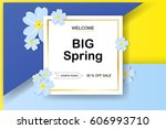 spring sale background with... | Shutterstock .eps vector #606993710