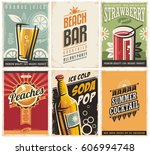 collection of retro posters... | Shutterstock .eps vector #606994748