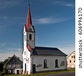 church with timber framing... | Shutterstock . vector #606996170