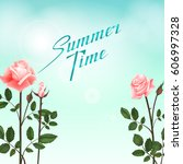 greeting card with roses ... | Shutterstock .eps vector #606997328