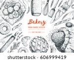 bakery top view frame.... | Shutterstock .eps vector #606999419