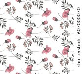 branches of pink flowers and... | Shutterstock .eps vector #607000070