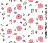 pink floral pattern on a white... | Shutterstock .eps vector #607000118