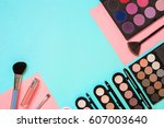 the women's cosmetics set on a... | Shutterstock . vector #607003640