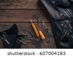 leather craft or leather... | Shutterstock . vector #607004183