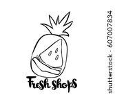 fresh fruits. isolated vector... | Shutterstock .eps vector #607007834