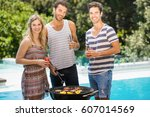 happy friends looking at camera ... | Shutterstock . vector #607014569