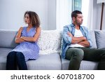 upset young couple ignoring... | Shutterstock . vector #607018700