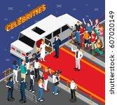 celebrities on red carpet... | Shutterstock .eps vector #607020149