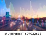 stock market digital graph... | Shutterstock . vector #607022618