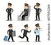 airplane pilot cartoon... | Shutterstock .eps vector #607031264