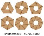 set of light brown overlapping... | Shutterstock .eps vector #607037180