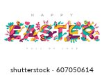 happy easter greeting card with ... | Shutterstock .eps vector #607050614