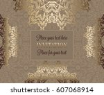 luxury ornament  lace in... | Shutterstock .eps vector #607068914
