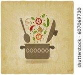 vegetarian menu or recipe book... | Shutterstock .eps vector #607069730