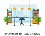 the interior of the office room ... | Shutterstock .eps vector #607073009
