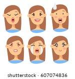 set of emotional character.... | Shutterstock .eps vector #607074836