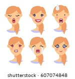 set of emotional character.... | Shutterstock .eps vector #607074848