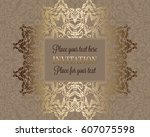 luxury ornament  lace in... | Shutterstock .eps vector #607075598