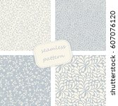 set of 4 vintage seamless ... | Shutterstock .eps vector #607076120