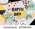 abstract happy birthday... | Shutterstock .eps vector #607081694