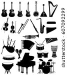 musical instruments set icons...