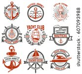 set of yacht club labels.... | Shutterstock .eps vector #607093988