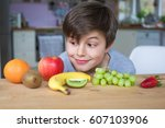 young caucasian male child... | Shutterstock . vector #607103906