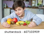 young caucasian male child... | Shutterstock . vector #607103909