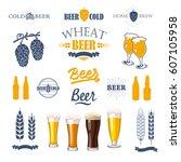 vector illustration with beer...   Shutterstock .eps vector #607105958