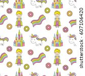 seamless baby pattern with cute ... | Shutterstock .eps vector #607106420