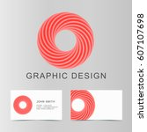 set of red business abstract... | Shutterstock .eps vector #607107698