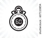 sixty minute stop watch... | Shutterstock .eps vector #607110854