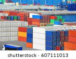 cargo container stack in port...   Shutterstock . vector #607111013