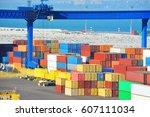 port cargo crane and container  ... | Shutterstock . vector #607111034