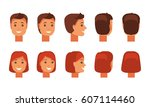 set of male and female faces... | Shutterstock .eps vector #607114460