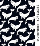 seamless pattern with beluga ... | Shutterstock .eps vector #607116353