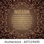 vintage background with brown... | Shutterstock .eps vector #607119650