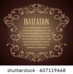 vintage background with brown... | Shutterstock .eps vector #607119668